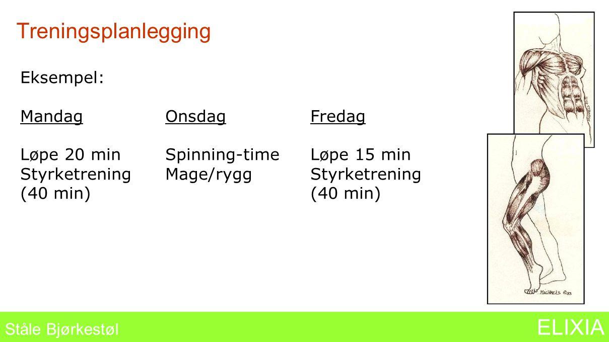 Treningsplanlegging Ståle Bjørkestøl ELIXIA Eksempel: MandagOnsdagFredag Løpe 20 minSpinning-timeLøpe 15 min StyrketreningMage/ryggStyrketrening (40 m