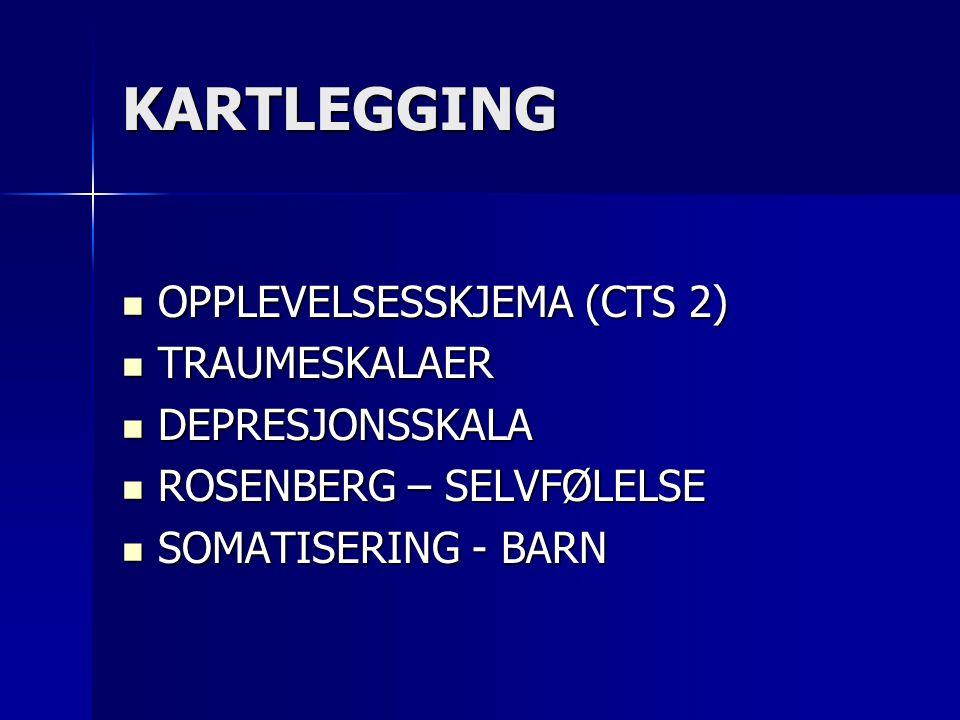 KARTLEGGING  OPPLEVELSESSKJEMA (CTS 2)  TRAUMESKALAER  DEPRESJONSSKALA  ROSENBERG – SELVFØLELSE  SOMATISERING - BARN