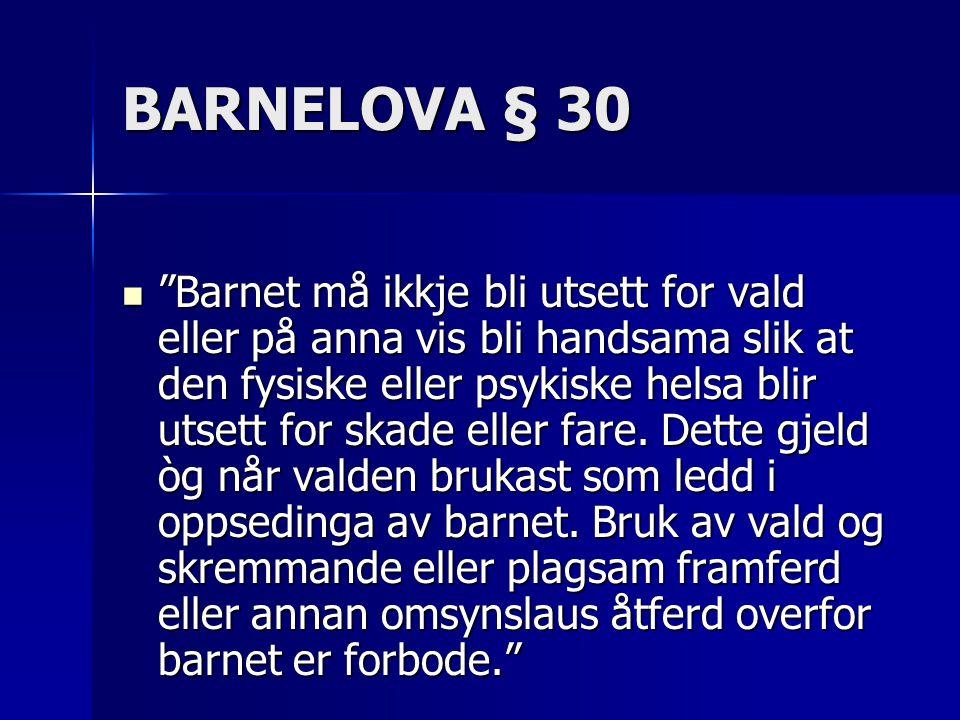 """BARNELOVA § 30  """"Barnet må ikkje bli utsett for vald eller på anna vis bli handsama slik at den fysiske eller psykiske helsa blir utsett for skade el"""