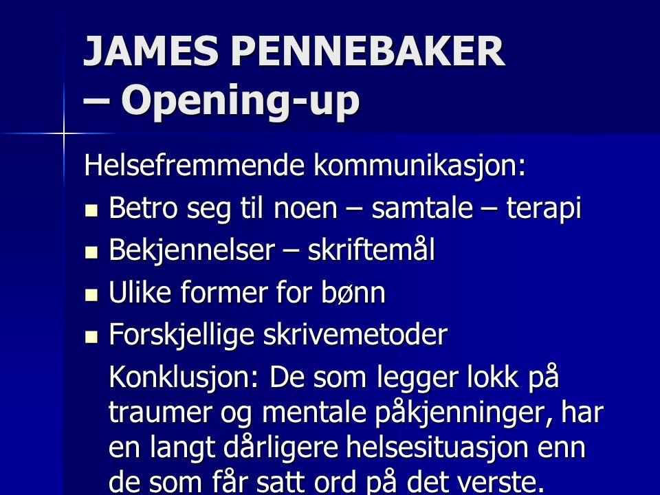 JAMES PENNEBAKER – Opening-up Helsefremmende kommunikasjon:  Betro seg til noen – samtale – terapi  Bekjennelser – skriftemål  Ulike former for bøn