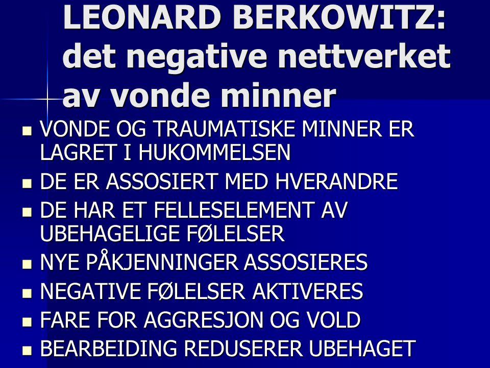 LEONARD BERKOWITZ: det negative nettverket av vonde minner  VONDE OG TRAUMATISKE MINNER ER LAGRET I HUKOMMELSEN  DE ER ASSOSIERT MED HVERANDRE  DE