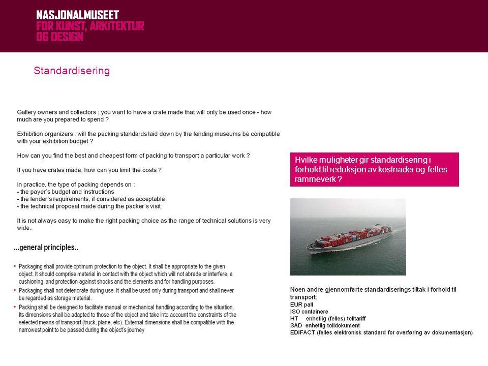 21.06.2014© NASJONALMUSEET Standardisering Hvilke muligheter gir standardisering i forhold til reduksjon av kostnader og felles rammeverk ?