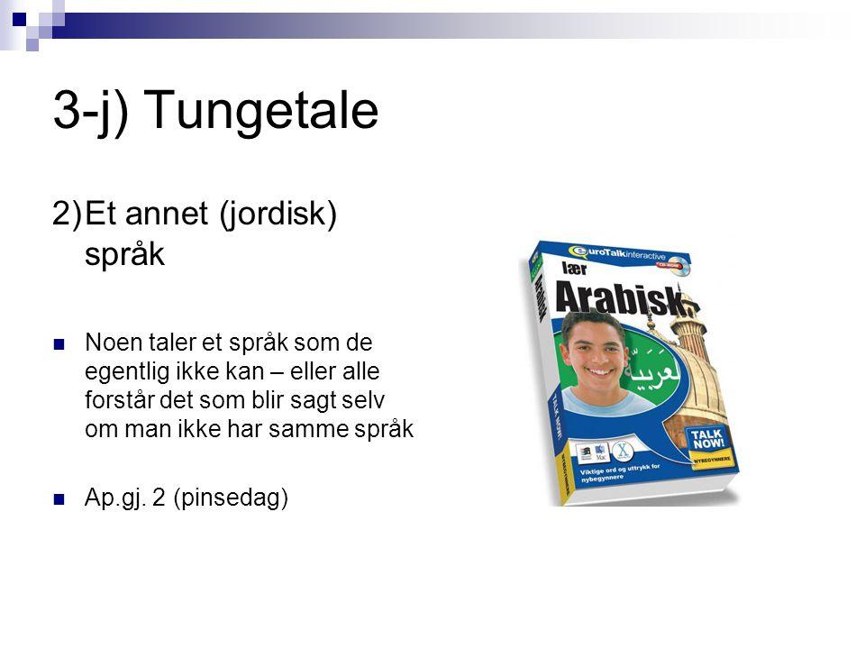 3-j) Tungetale 2)Et annet (jordisk) språk  Noen taler et språk som de egentlig ikke kan – eller alle forstår det som blir sagt selv om man ikke har samme språk  Ap.gj.