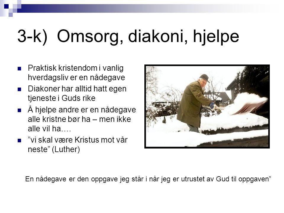 3-k) Omsorg, diakoni, hjelpe  Praktisk kristendom i vanlig hverdagsliv er en nådegave  Diakoner har alltid hatt egen tjeneste i Guds rike  Å hjelpe