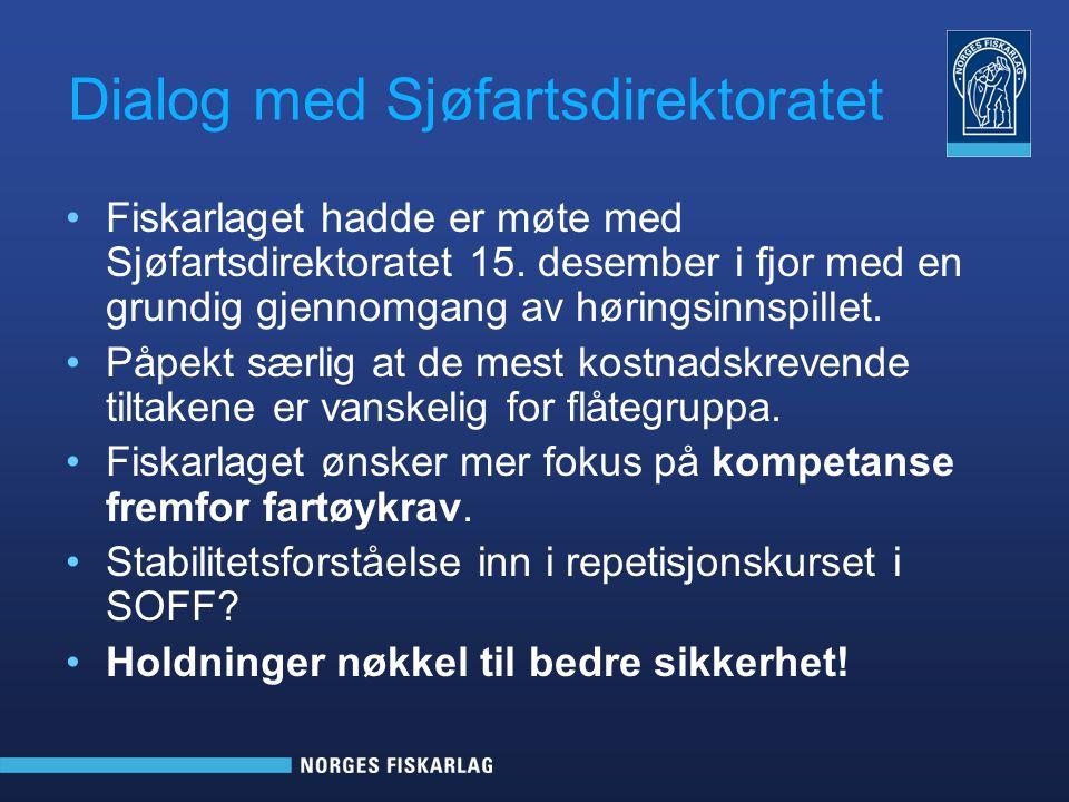 Signaler fra Sjøfartsdirektoratet •Den nye forskriften for fiskefartøy under 15 meter ble ikke iverksatt fra årsskiftet slik det opprinnelig var planlagt, men planlegges fastsatt med virking fra 1.