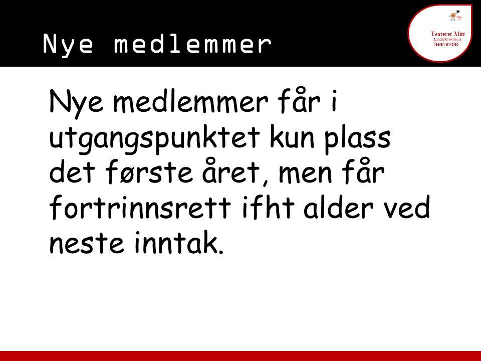 Nye medlemmer 6 Teateret Mitt Sunde/Kvernevik Teaterverksted Nye medlemmer får i utgangspunktet kun plass det første året, men får fortrinnsrett ifht