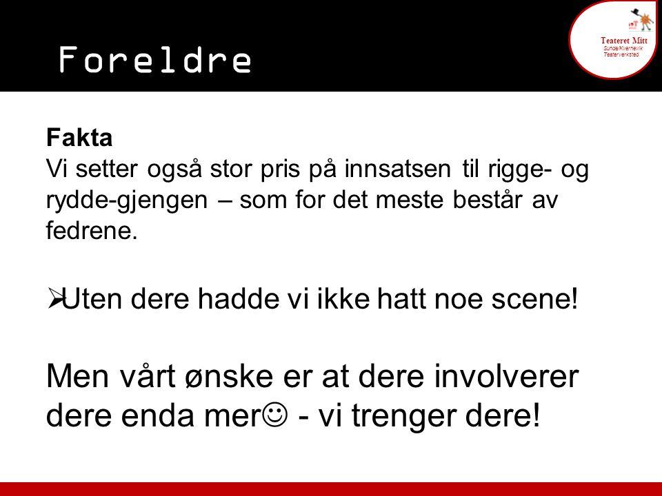 Foreldre engasjement 6 Teateret Mitt Sunde/Kvernevik Teaterverksted Fakta Vi setter også stor pris på innsatsen til rigge- og rydde-gjengen – som for