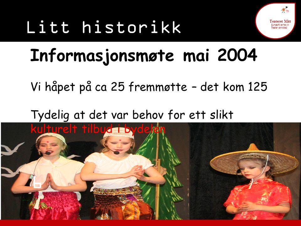 Litt historikk 6 Teateret Mitt Sunde/Kvernevik Teaterverksted Informasjonsmøte mai 2004 Vi håpet på ca 25 fremmøtte – det kom 125 Tydelig at det var b