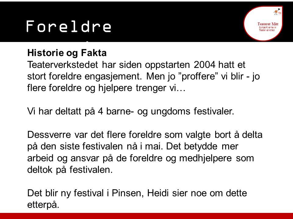 Foreldre engasjement 6 Teateret Mitt Sunde/Kvernevik Teaterverksted Historie og Fakta Teaterverkstedet har siden oppstarten 2004 hatt et stort foreldr