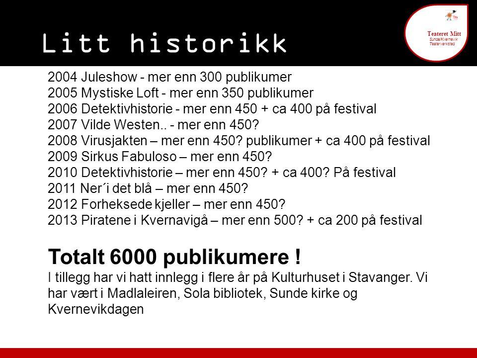 Litt historikk 6 Teateret Mitt Sunde/Kvernevik Teaterverksted 2004 Juleshow - mer enn 300 publikumer 2005 Mystiske Loft - mer enn 350 publikumer 2006