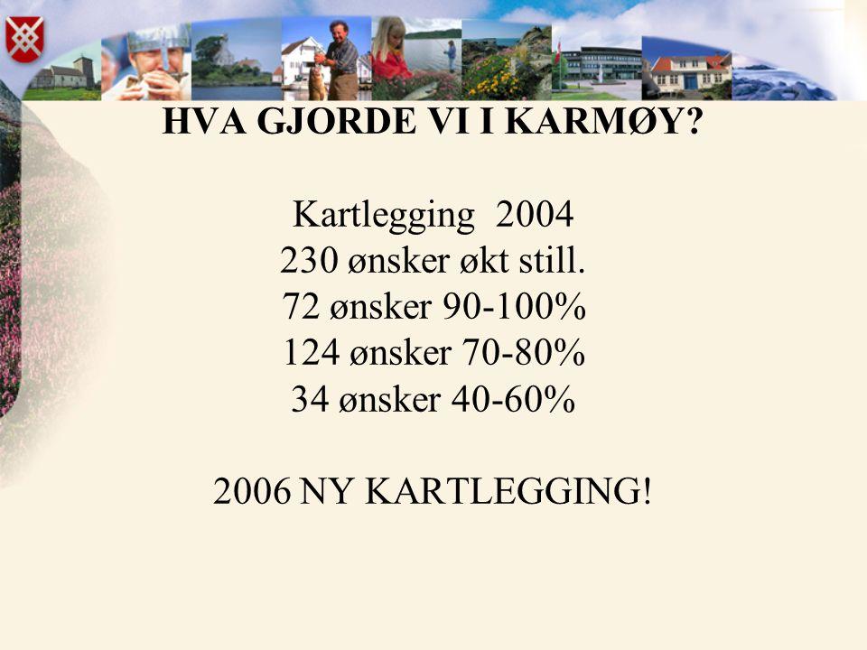 HVA GJORDE VI I KARMØY? Kartlegging 2004 230 ønsker økt still. 72 ønsker 90-100% 124 ønsker 70-80% 34 ønsker 40-60% 2006 NY KARTLEGGING!