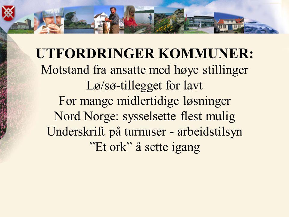 UTFORDRINGER KOMMUNER: Motstand fra ansatte med høye stillinger Lø/sø-tillegget for lavt For mange midlertidige løsninger Nord Norge: sysselsette flest mulig Underskrift på turnuser - arbeidstilsyn Et ork å sette igang