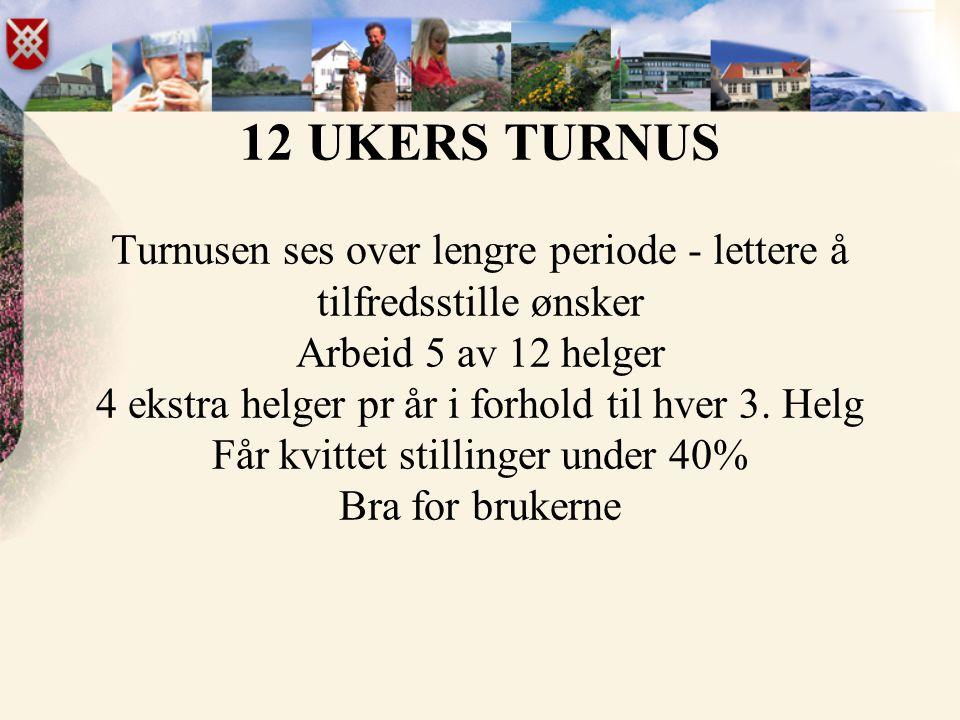 12 UKERS TURNUS Turnusen ses over lengre periode - lettere å tilfredsstille ønsker Arbeid 5 av 12 helger 4 ekstra helger pr år i forhold til hver 3. H