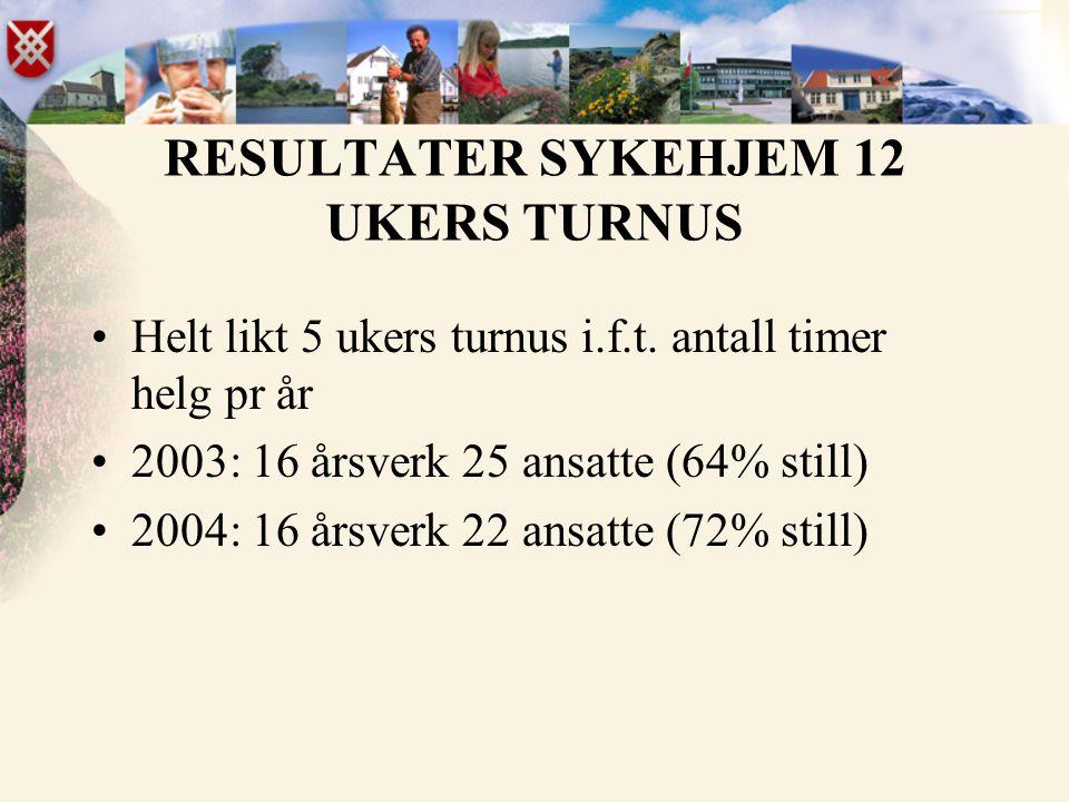 RESULTATER SYKEHJEM 12 UKERS TURNUS •Helt likt 5 ukers turnus i.f.t. antall timer helg pr år •2003: 16 årsverk 25 ansatte (64% still) •2004: 16 årsver