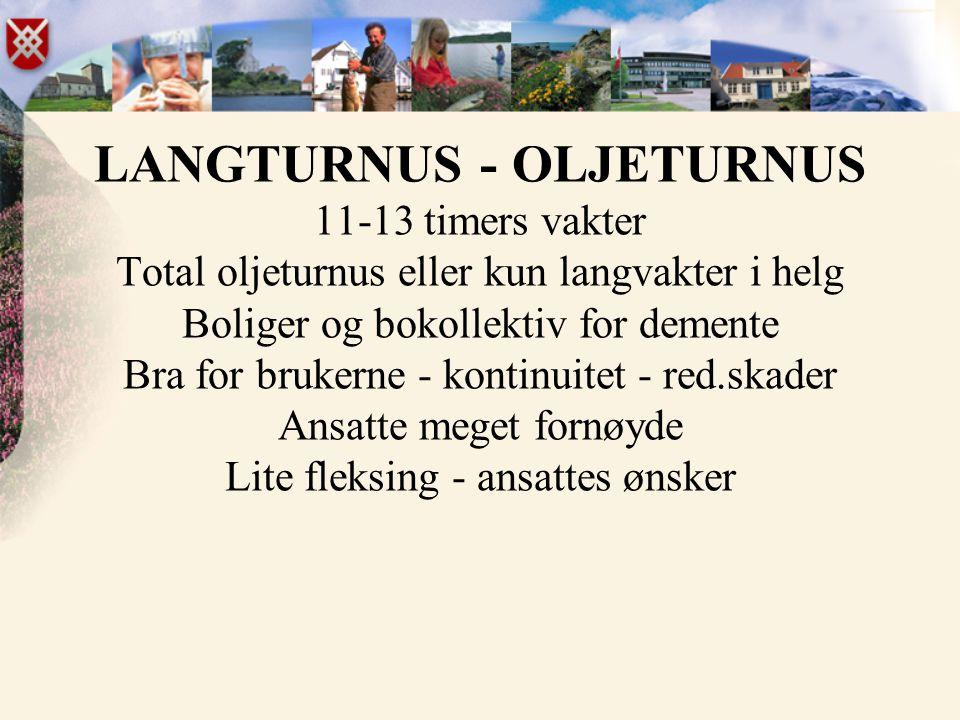 LANGTURNUS - OLJETURNUS 11-13 timers vakter Total oljeturnus eller kun langvakter i helg Boliger og bokollektiv for demente Bra for brukerne - kontinu