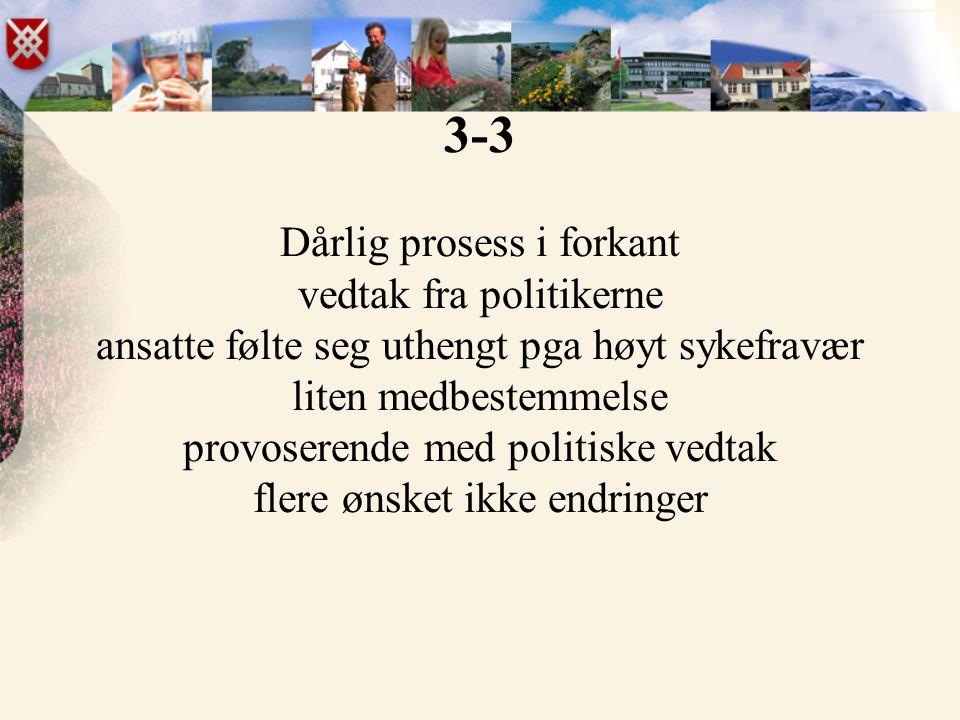 3-3 Dårlig prosess i forkant vedtak fra politikerne ansatte følte seg uthengt pga høyt sykefravær liten medbestemmelse provoserende med politiske vedt