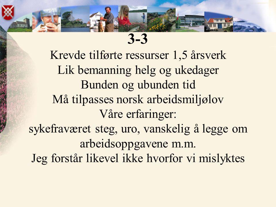 3-3 Krevde tilførte ressurser 1,5 årsverk Lik bemanning helg og ukedager Bunden og ubunden tid Må tilpasses norsk arbeidsmiljølov Våre erfaringer: syk