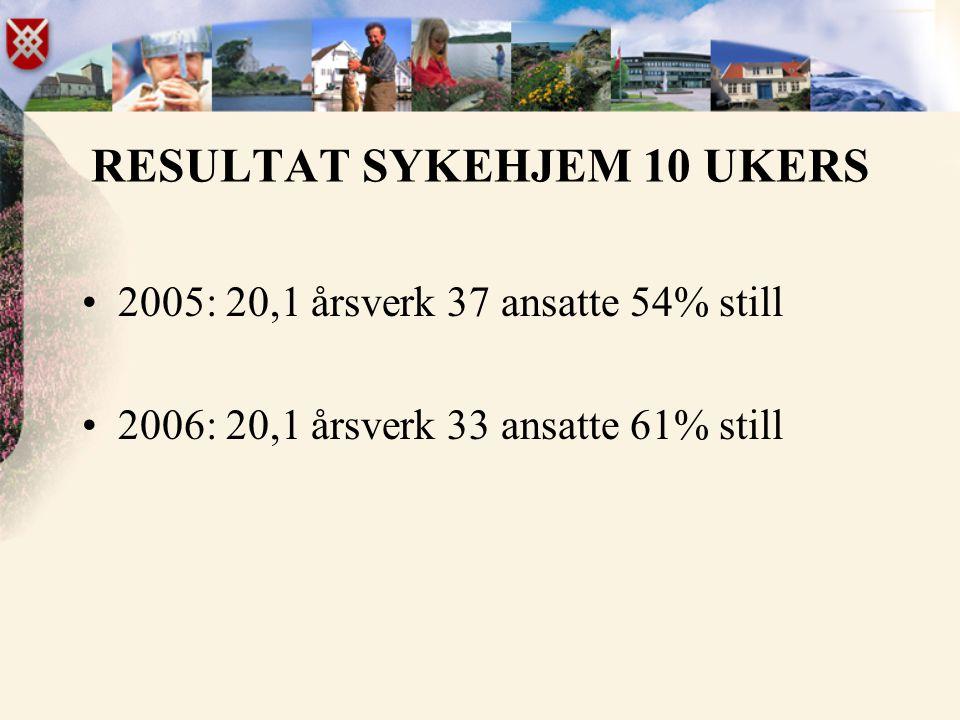 RESULTAT SYKEHJEM 10 UKERS •2005: 20,1 årsverk 37 ansatte 54% still •2006: 20,1 årsverk 33 ansatte 61% still