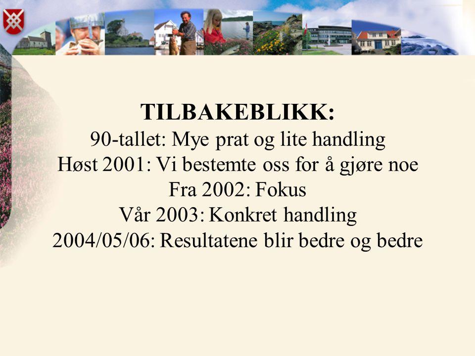 TILBAKEBLIKK: 90-tallet: Mye prat og lite handling Høst 2001: Vi bestemte oss for å gjøre noe Fra 2002: Fokus Vår 2003: Konkret handling 2004/05/06: R