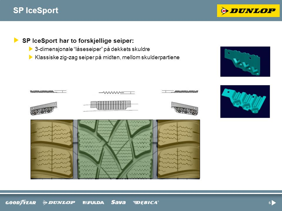 55 SP IceSport SP IceSport har to forskjellige seiper: 3-dimensjonale låseseiper på dekkets skuldre Klassiske zig-zag seiper på midten, mellom skulderpartiene