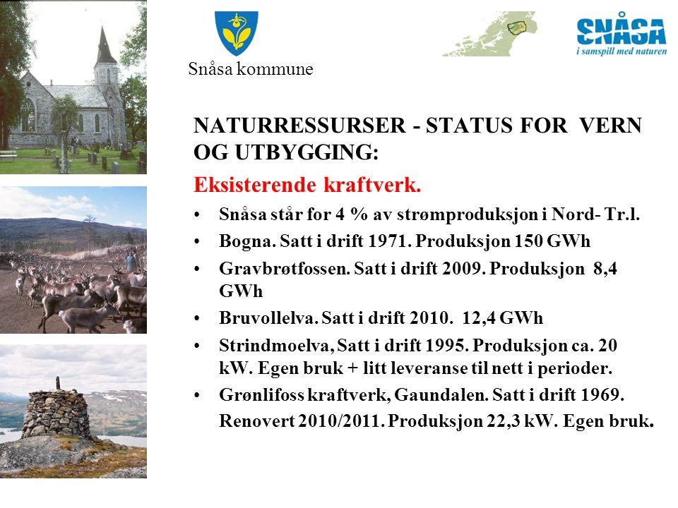Snåsa kommune NATURRESSURSER - STATUS FOR VERN OG UTBYGGING Omsøkte kraftverk.