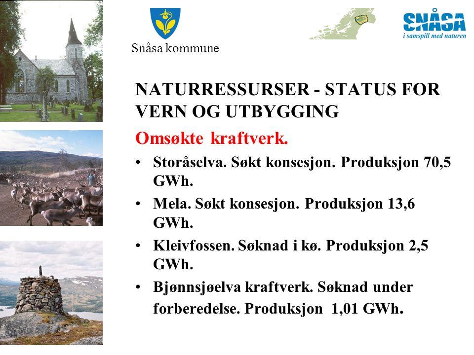 Snåsa kommune •PLANPROSESS KOMMUNEPLANENS AREALDEL: NVE Atlas – potensiale for småkraftverk.