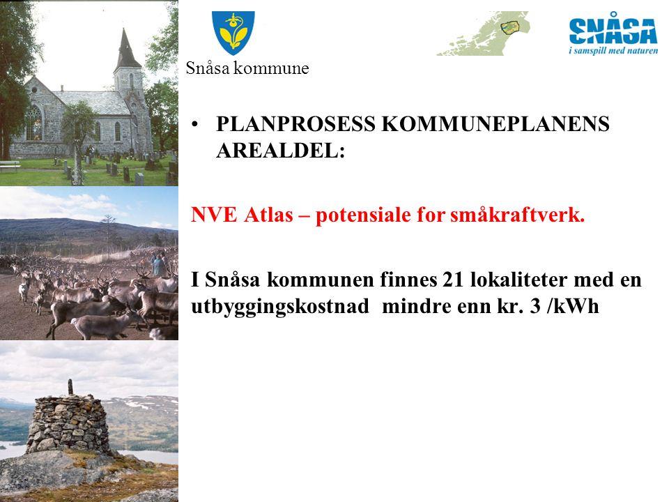 Snåsa kommune NVE Atlas – potensiale for småkraftverk. Produksjonspotensiale på ca. 107 GWh