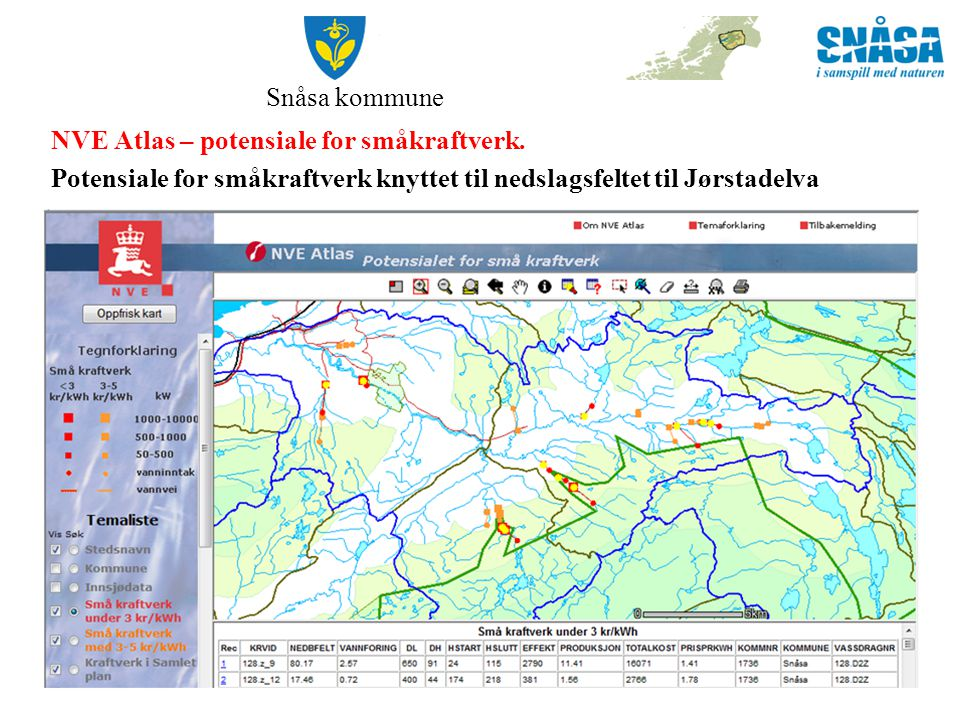 Snåsa kommune NVE Atlas – potensiale for småkraftverk.