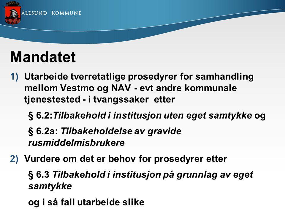 Mandatet 1)Utarbeide tverretatlige prosedyrer for samhandling mellom Vestmo og NAV - evt andre kommunale tjenestested - i tvangssaker etter § 6.2:Tilb