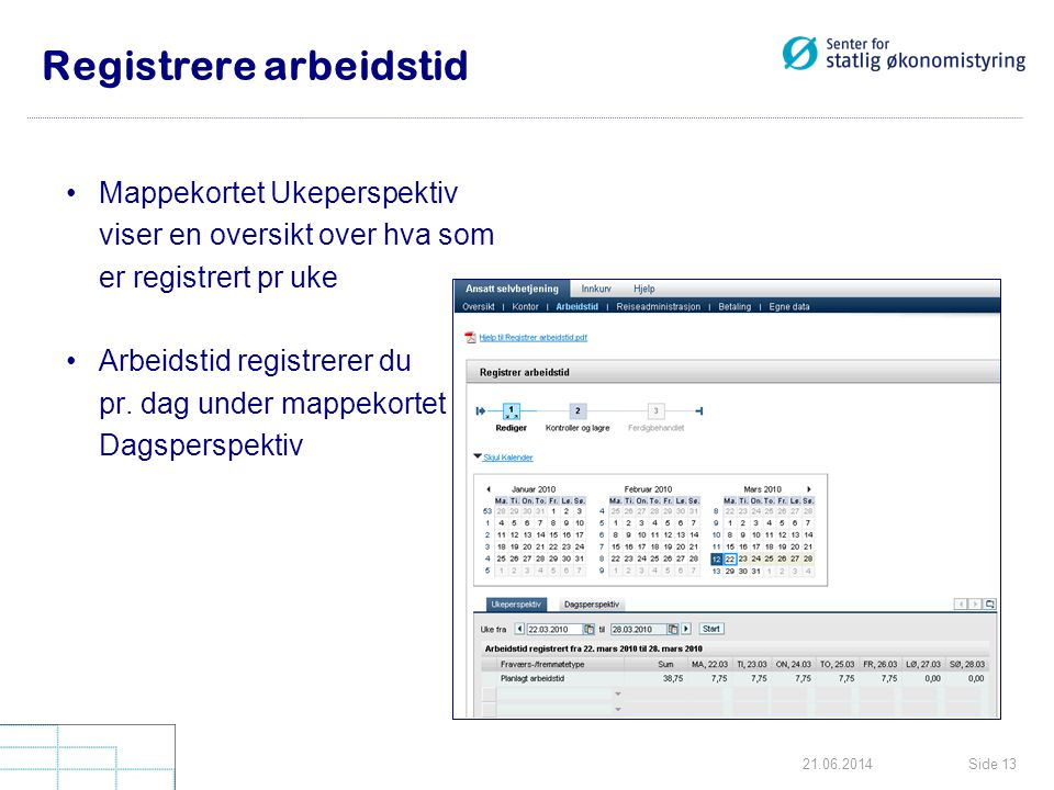Side 1321.06.2014 Registrere arbeidstid •Mappekortet Ukeperspektiv viser en oversikt over hva som er registrert pr uke •Arbeidstid registrerer du pr.
