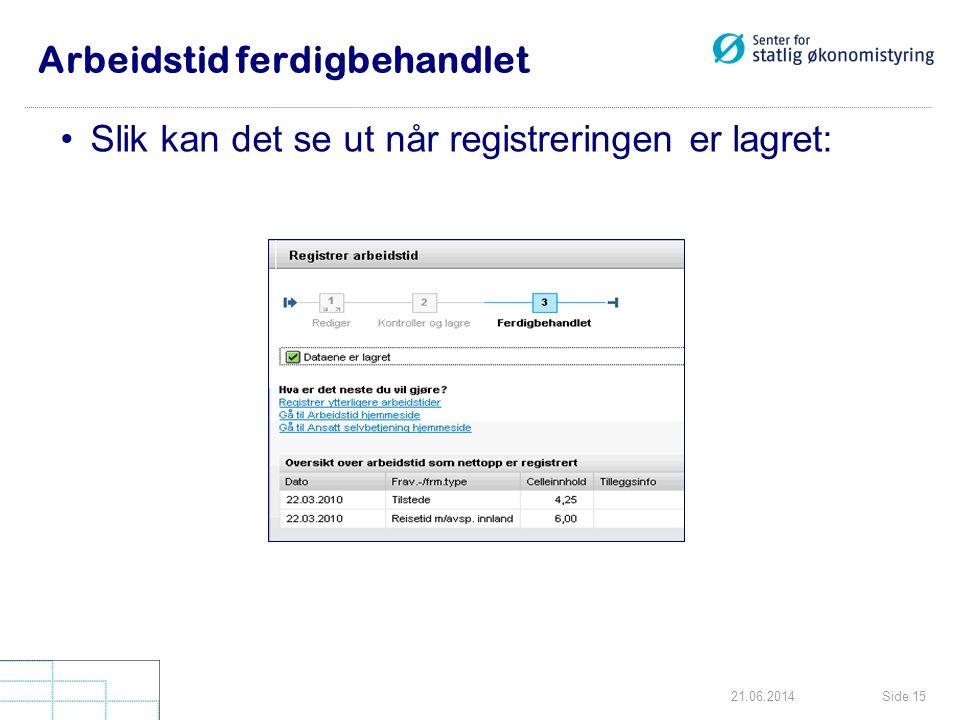 Side 1521.06.2014 Arbeidstid ferdigbehandlet •Slik kan det se ut når registreringen er lagret: