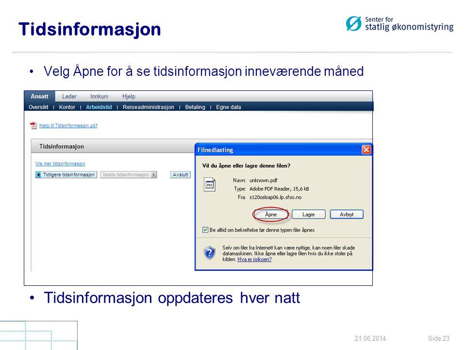 Side 2321.06.2014 Tidsinformasjon •Velg Åpne for å se tidsinformasjon inneværende måned •Tidsinformasjon oppdateres hver natt