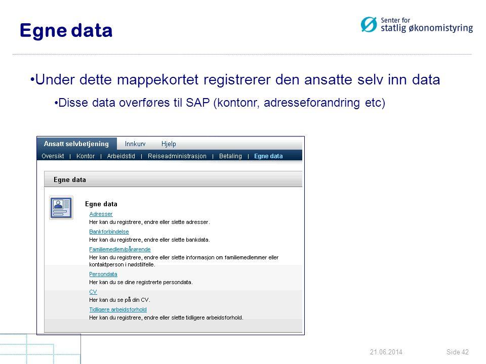 Side 4221.06.2014 Egne data •Under dette mappekortet registrerer den ansatte selv inn data •Disse data overføres til SAP (kontonr, adresseforandring e