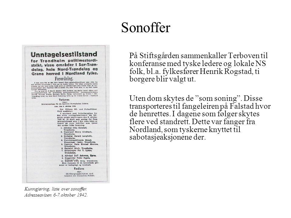 Sonoffer På Stiftsgården sammenkaller Terboven til konferanse med tyske ledere og lokale NS folk, bl.a. fylkesfører Henrik Rogstad, ti borgere blir va