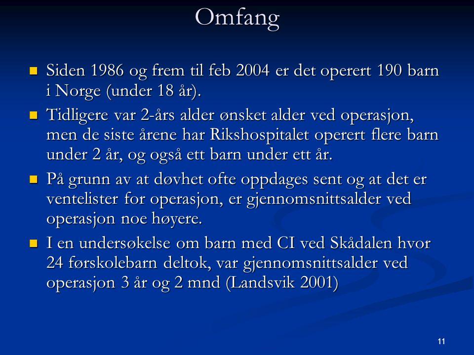 11 Omfang  Siden 1986 og frem til feb 2004 er det operert 190 barn i Norge (under 18 år).  Tidligere var 2-års alder ønsket alder ved operasjon, men