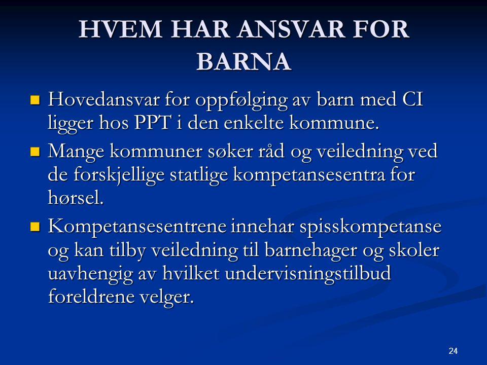 24 HVEM HAR ANSVAR FOR BARNA  Hovedansvar for oppfølging av barn med CI ligger hos PPT i den enkelte kommune.  Mange kommuner søker råd og veilednin
