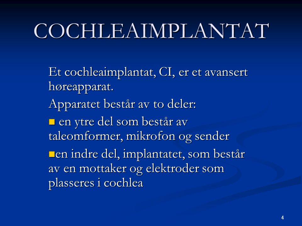 4 COCHLEAIMPLANTAT Et cochleaimplantat, CI, er et avansert høreapparat. Apparatet består av to deler:  en ytre del som består av taleomformer, mikrof