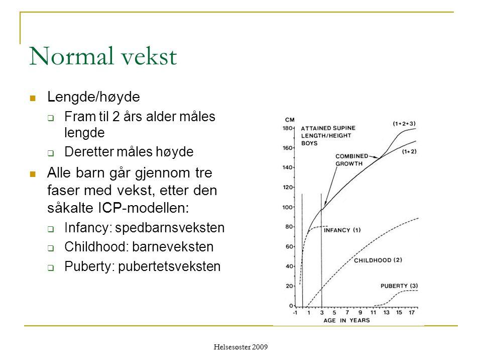 Helsesøster 2009 Normal vekst  Lengde/høyde  Fram til 2 års alder måles lengde  Deretter måles høyde  Alle barn går gjennom tre faser med vekst, e