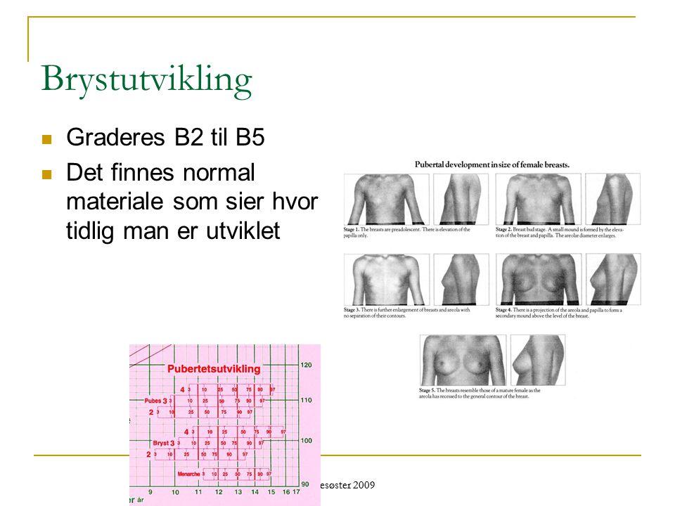 Helsesøster 2009 Brystutvikling  Graderes B2 til B5  Det finnes normal materiale som sier hvor tidlig man er utviklet
