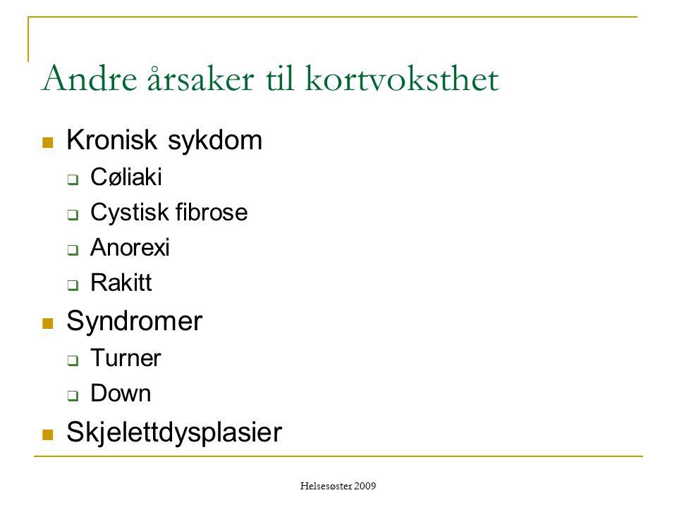 Helsesøster 2009 Andre årsaker til kortvoksthet  Kronisk sykdom  Cøliaki  Cystisk fibrose  Anorexi  Rakitt  Syndromer  Turner  Down  Skjelett
