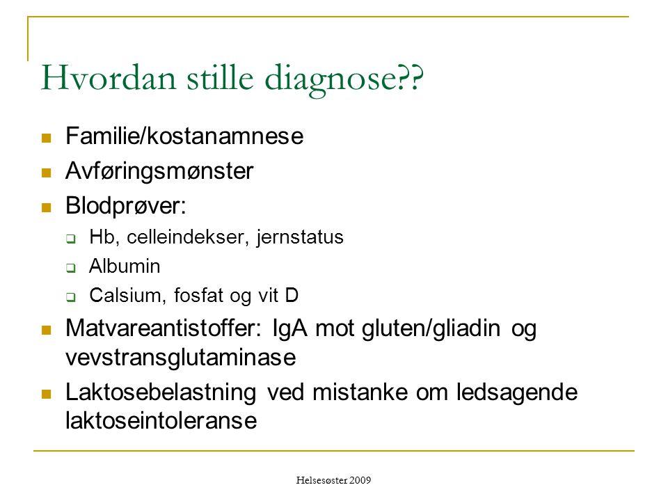Hvordan stille diagnose??  Familie/kostanamnese  Avføringsmønster  Blodprøver:  Hb, celleindekser, jernstatus  Albumin  Calsium, fosfat og vit D