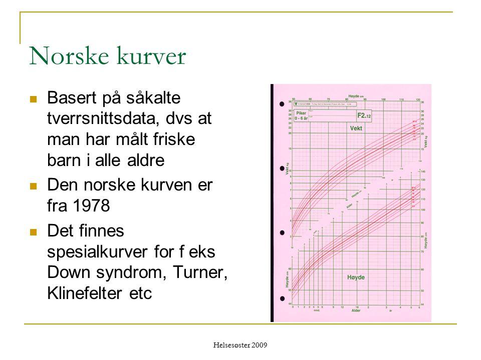Helsesøster 2009 Norske kurver  Basert på såkalte tverrsnittsdata, dvs at man har målt friske barn i alle aldre  Den norske kurven er fra 1978  Det