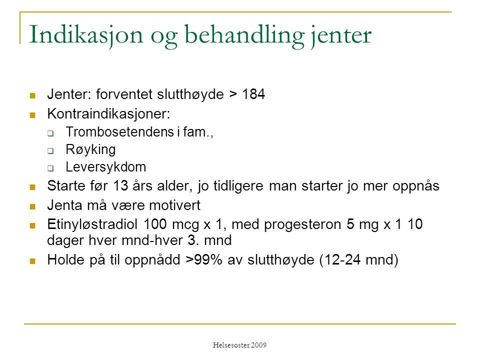 Helsesøster 2009 Indikasjon og behandling jenter  Jenter: forventet slutthøyde > 184  Kontraindikasjoner:  Trombosetendens i fam.,  Røyking  Leve