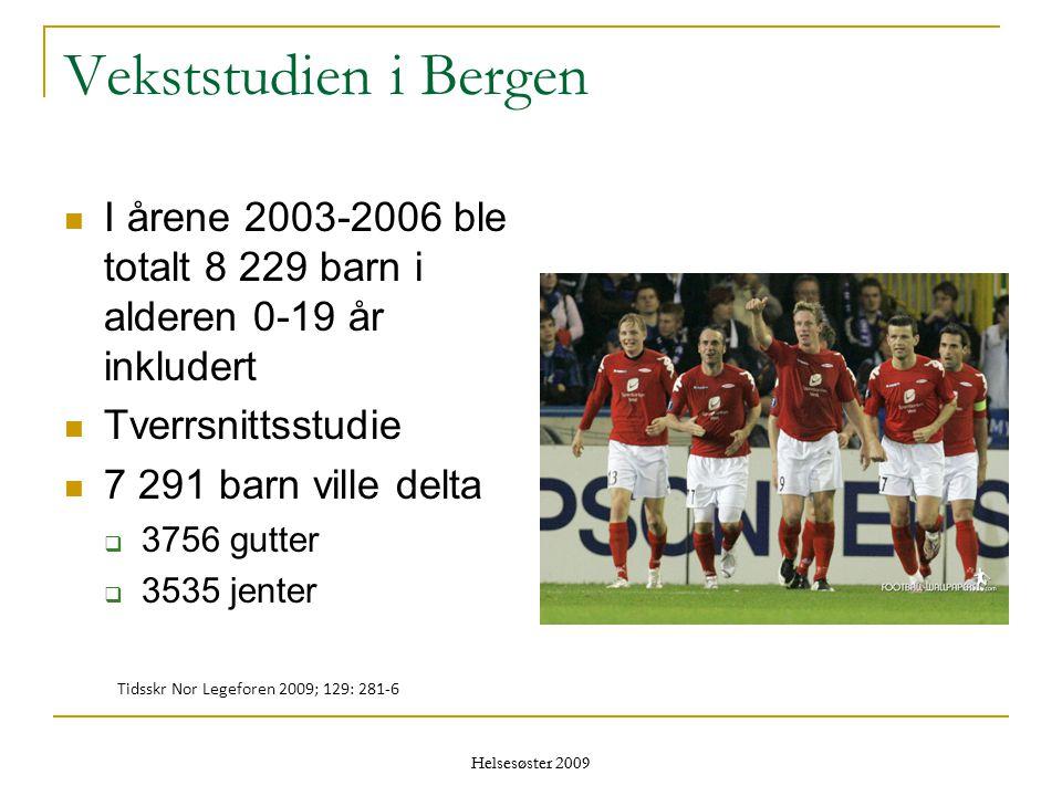 Helsesøster 2009 Vekststudien i Bergen  I årene 2003-2006 ble totalt 8 229 barn i alderen 0-19 år inkludert  Tverrsnittsstudie  7 291 barn ville de