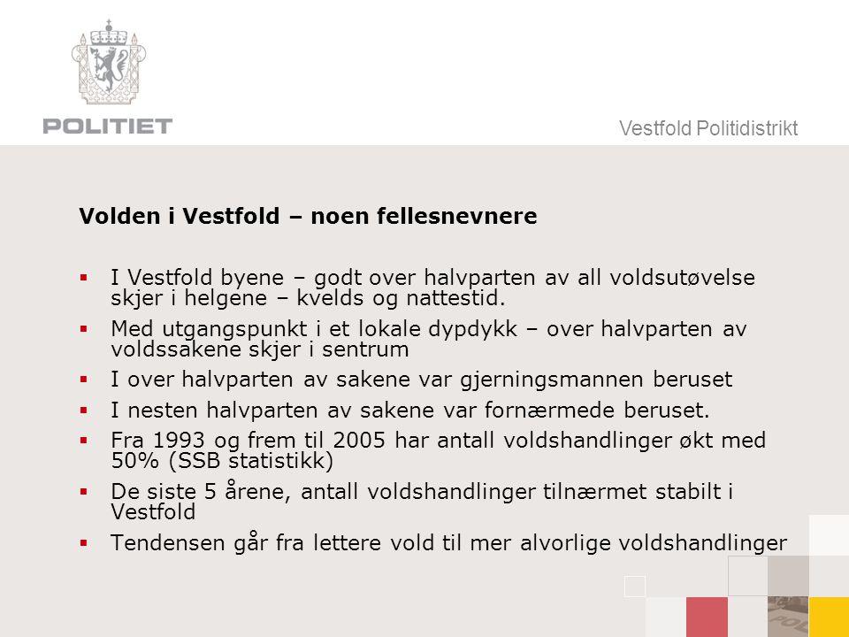 Volden i Vestfold – noen fellesnevnere  I Vestfold byene – godt over halvparten av all voldsutøvelse skjer i helgene – kvelds og nattestid.  Med utg