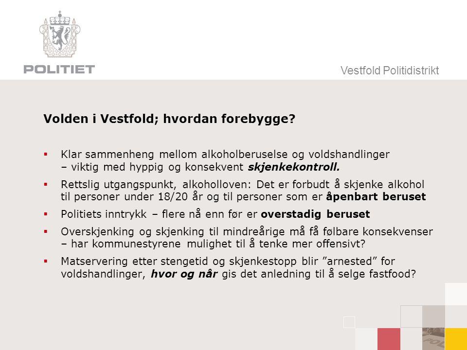 Vestfold Politidistrikt Volden i Vestfold; hvordan forebygge?  Klar sammenheng mellom alkoholberuselse og voldshandlinger – viktig med hyppig og kons