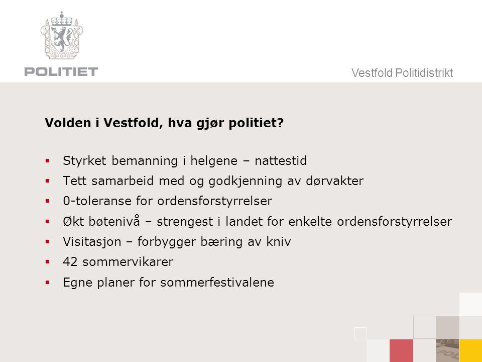Vestfold Politidistrikt Volden i Vestfold, hva gjør politiet?  Styrket bemanning i helgene – nattestid  Tett samarbeid med og godkjenning av dørvakt