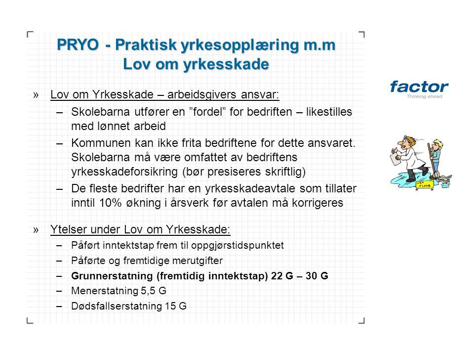 """PRYO - Praktisk yrkesopplæring m.m Lov om yrkesskade »Lov om Yrkesskade – arbeidsgivers ansvar: –Skolebarna utfører en """"fordel"""" for bedriften – likest"""