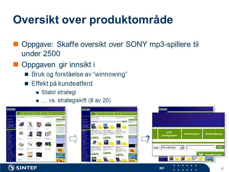 IKT 6 Oversikt over produktområde  Oppgave: Skaffe oversikt over SONY mp3-spillere til under 2500  Oppgaven gir innsikt i  Bruk og forståelse av winnowing  Effekt på kundeatferd  Stabil strategi  … vs.