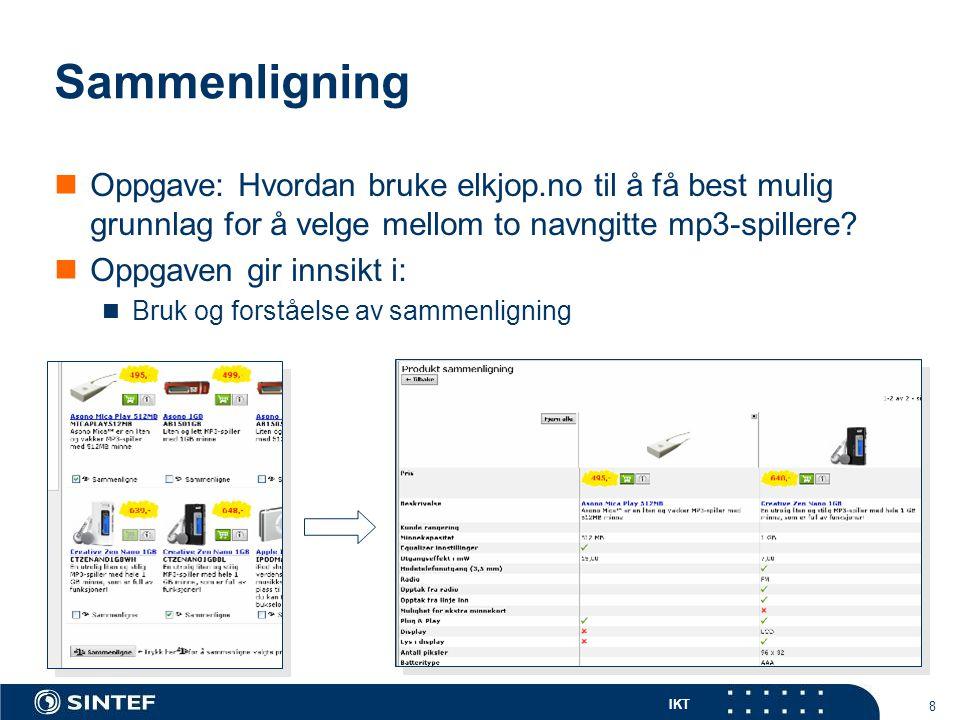 IKT 8 Sammenligning  Oppgave: Hvordan bruke elkjop.no til å få best mulig grunnlag for å velge mellom to navngitte mp3-spillere.